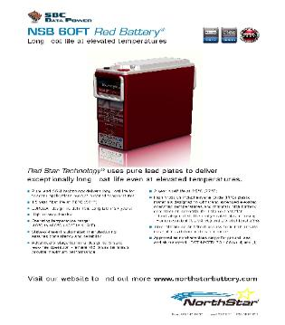NorthStar NSB Front Terminal Deep Cycle 12 Volt DC Batteries Brochure Image
